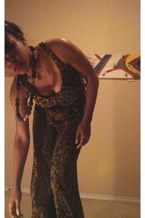 black vintage franco sarto boots - leopard print Sans Saouci dress - ann taylor