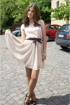 beige dress - dark brown shoes