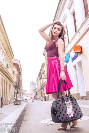 hot pink Raluca Burtea skirt - ruby red Raluca Burtea top