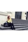 Yellow-vila-sweater-black-celine-bag-black-front-row-shop-skirt