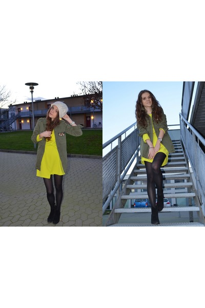 yellow H&M Trend dress - black Zara boots - tan beanie H&M hat