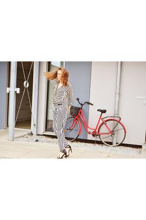 black Sheinside shirt - white Sheinside pants - black Zara sandals
