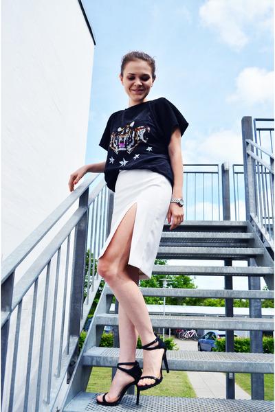 white Mango skirt - dark gray Zara t-shirt - black Zara sandals