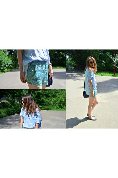 sky blue Zara shirt - aquamarine Zara shorts - gray glitter flats Musette flats