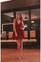 brick red taylor made dress - nude Anna  Cori heels