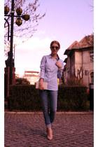 periwinkle Zara jeans - periwinkle H&M shirt - nude ANNA CORRI heels