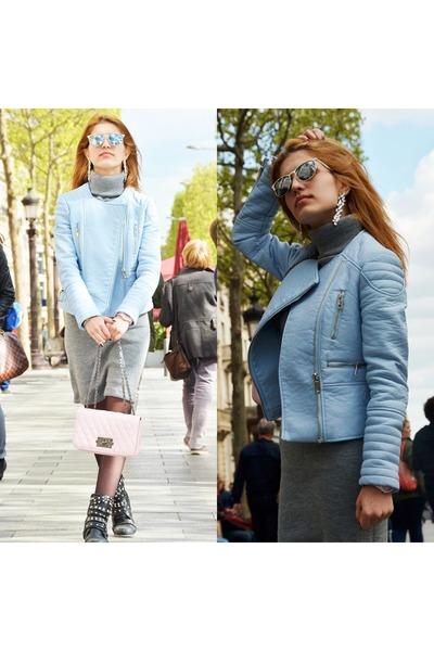 light blue Zara jacket - light pink Guess watch