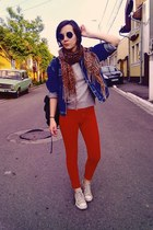 molded H&M pants - classic Converse shoes - jeans vintage jacket - H&M blouse