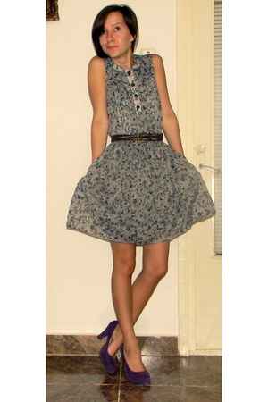 floral print Zara dress - vintage belt