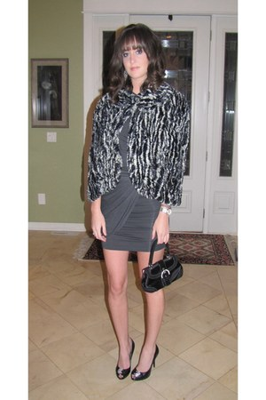 heather gray Tart dress - black Walter coat - black Giuseppe Zanotti shoes - bla