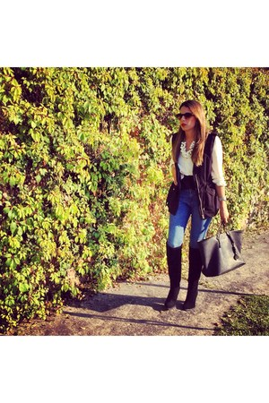black Zara boots - black Michael Kors bag - black H&M vest