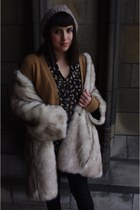 white faux fur asos coat - dark gray Zara shirt - camel Zara cardigan