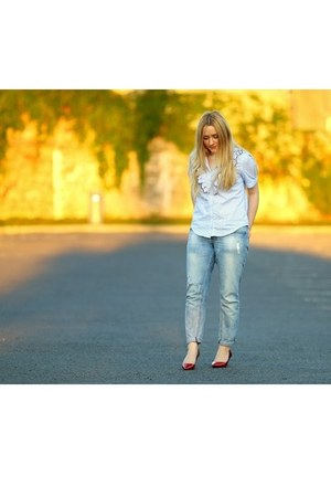 sky blue sammydress blouse - ruby red Zara shoes
