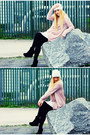 White-self-made-hat-light-pink-oversized-h-m-sweater-black-unknown-leggings