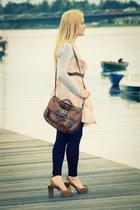 brown Arezzo sandals - light pink H&M dress - brown Primark bag