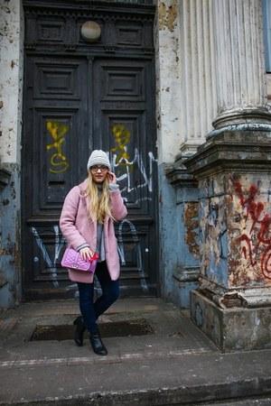 pink wool Primark coat - black Topshop boots - navy H&M jeans