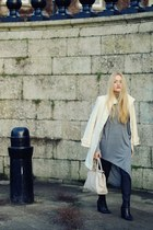 black coated Dunnes jeans - black Helene Rouge Paris boots - white bay coat