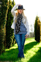 blue Ichi jeans - black fedora Fail Worth hat - beige Vero Moda jacket - brown l