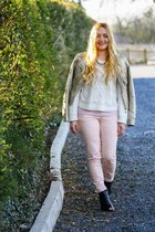 peach cheetah print H&M jeans - black peep toe River Island boots