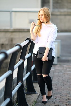 white white sammydress blouse - black 2ndone jeans - peach zaful sunglasses
