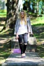 white Zoe Karssen t-shirt - black 2nd One jeans - pink Rebecca Minkoff bag