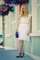 white JCL Trends dress - navy Miss Kg shoes - purple Winsmoore bag