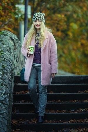 bubble gum Primark coat - black Topshop boots - brown next hat