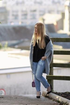 heather gray BangGood cardigan - pink love crossbody Rebecca Minkoff bag