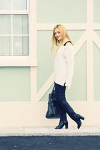 cream FF sweater - black peep toe ankle River Island boots