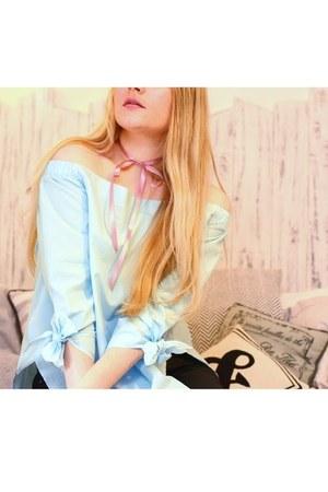 light blue Sheincom blouse