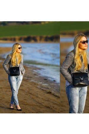 gray tweed Jones New York jacket - black vintage bag - black Sisley sunglasses