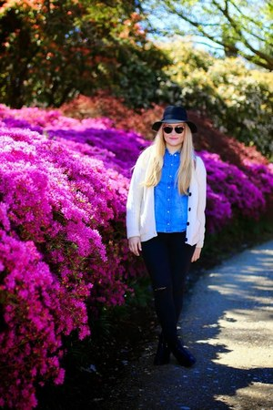 blue H&M shirt - cream Amara Reya cardigan - black Rebecca Minkoff glasses