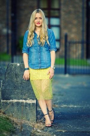 blue denim H&M shirt - yellow lace Zara skirt - gray heels Zara sandals