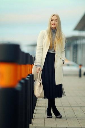 black tulle PERSUNMALL skirt - cream bay coat