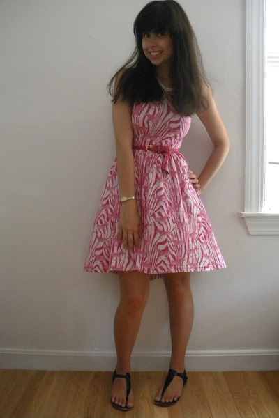 zebra print H&M dress - pink Target belt - gold fred flare watch