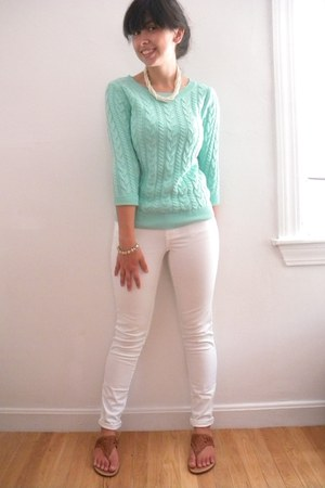 mint H&M sweater - white American Eagle pants - American Eagle sandals