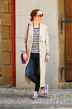violet leather Adidas sneakers - neutral polyester Monki coat