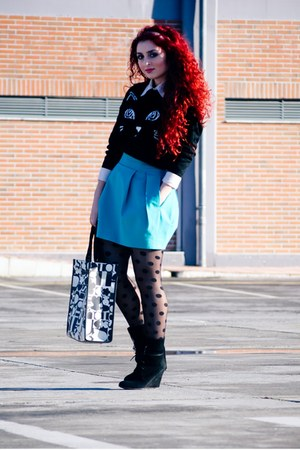 Sheinside sweater - asos tights - Tous bag - Zara skirt
