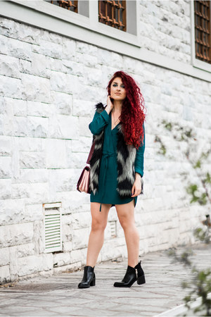 black Zara boots - teal Mango dress