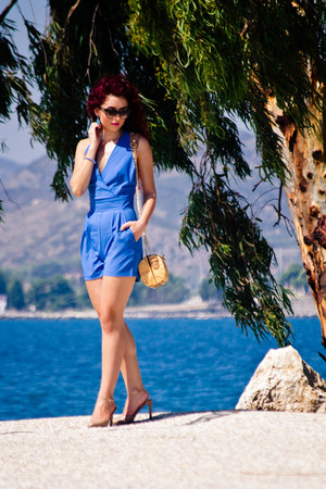 blue blackfive romper - camel Valentino shoes - dior sunglasses