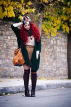 vintage scarf - Calzedonia socks - Zara cardigan