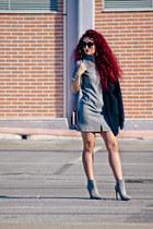 silver Zara shoes - heather gray vintage dress - silver Mango bag