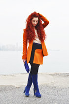 Zara skirt - ovye boots - Zara blazer