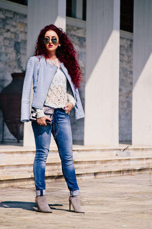 light blue Zara jacket - silver Zara shoes - white Mango sweater