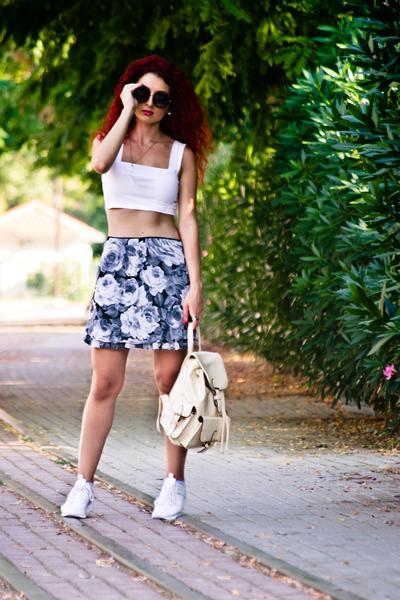 white Zara sneakers - gray asos top - heather gray vintage skirt