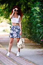 white Zara sneakers - gray asos top - heather gray vintage skirt