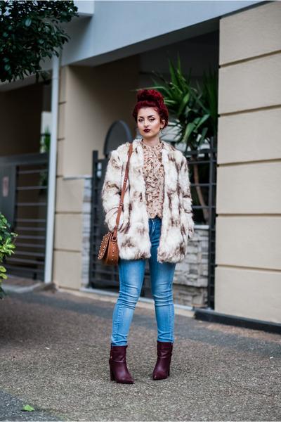 maroon Mango boots - cream Zara jacket