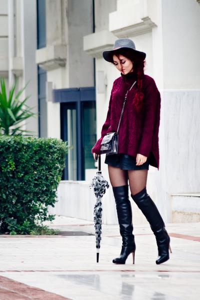maroon Choies sweater - black Gianvito Rossi boots - silver Mango bag