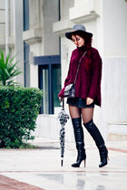 maroon Choies sweater - black Gianvito Rossi boots - silver Mango bag
