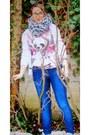 Zara-jeans-mango-sweater-zara-scarf-berska-t-shirt-forever21-glasses